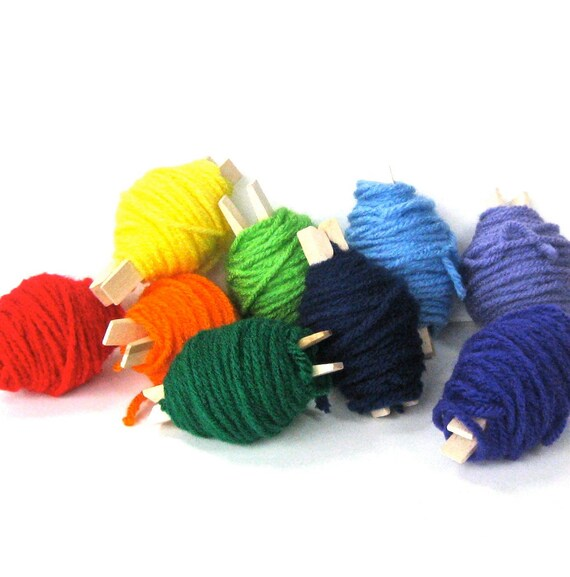 Yarn Scraps - 80 Yards - 8 Rainbow Shades of Colored Yarn Rolled on to Wooden Clothes Pins