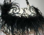Black and White Scroll Purse with Ostrich Feather trim