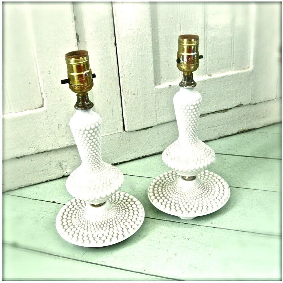 vintage hobnail milk glass lamp set by rescuedjunk on etsy