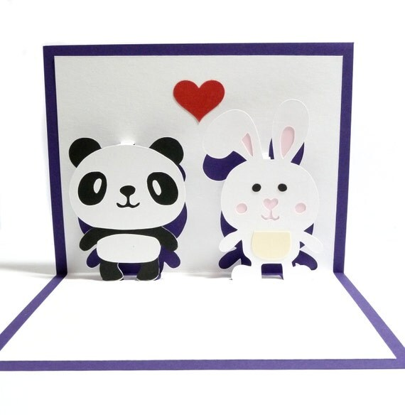 Panda and Bunny In Love Pop Up Card