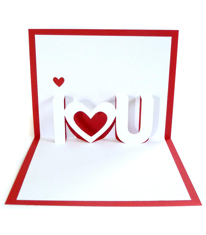 i love u pop up greeting card valentine's day card