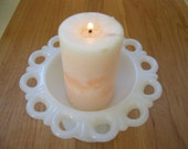 Store Closing on April 30th.  Sweet Lacy Milk Glass Candy Dish -Candle Holder