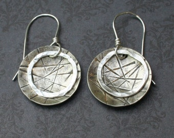 Sterling silver textured circle and ring earrings