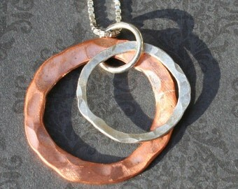 Hammered Copper and Sterling Rings Necklace