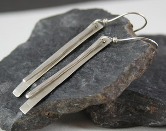 Textured Dangle Sterling Silver Earrings