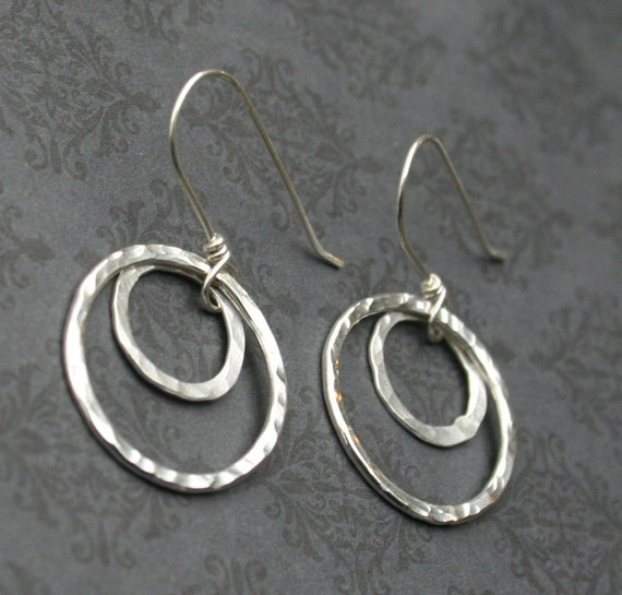 Double Ring Hammered Silver Earrings