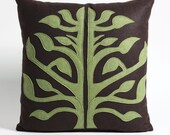 TREE OF LIFE - cocoa and moss - 16inch recycled felt applique pillow