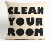 CLEAN YOUR ROOM oatmeal and black recycled felt applique pillow 16x16inch