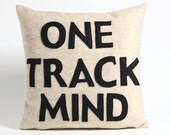 ONE TRACK MIND oatmeal and black recycled felt applique pillow 16x16inch