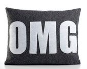 "OMG 14"" x 18"" Recycled Felt Applique Pillow - charcoal / white"