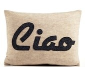 CIAO oatmeal and charcoal recycled felt applique pillow 14x18inch
