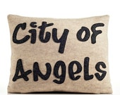 "City of Angels (Los Angeles) 14"" X 18"" Recycled Felt Applique Pillow - oatmeal / charcoal"