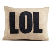 """LOL 14"""" x 18"""" Recycled Felt Applique Pillow - oatmeal / charcoal"""