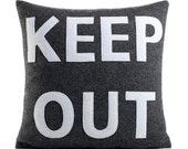 KEEP OUT - recycled felt applique pillow 16x16 charcoal and white