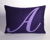 MONOGRAMMED Recycled Felt Applique Pillow ANY LETTER AND COLOR AVAILABLE 10 by 14 inches