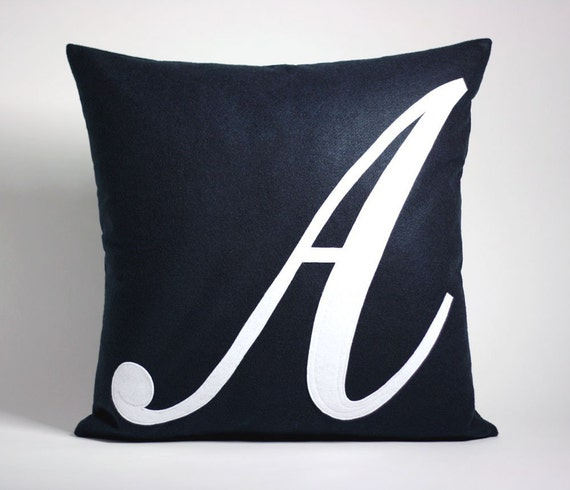 MONOGRAMMED Recycled Felt Applique Pillow ANY LETTER AND COLOR AVAILABLE 22 by 22 inches script font