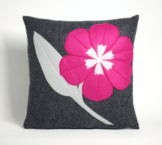 TULIP - charcoal and fuchsia 16 inch recycled felt applique pillow