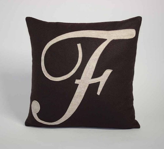 ANY letter - Monogrammed Recycled Felt Applique Pillow ANY COLOR available 16 by 16 inches