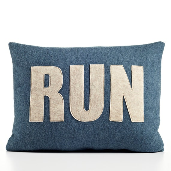 "RUN 14"" x 18"" Recycled Felt Applique Pillow - Denim and Oatmeal"