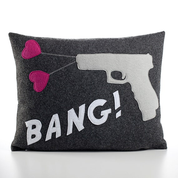 BANG recycled felt applique pillow 14x18 - more colors available