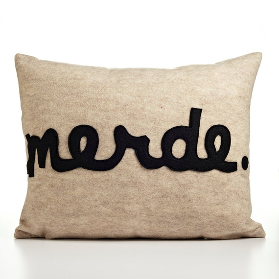 MERDE oatmeal and black recycled felt applique pillow 14x18inch