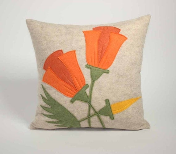 CALIFORNIA POPPY - 16 inch recycled felt applique pillow