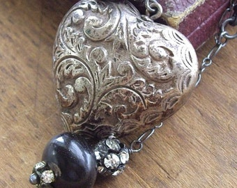 Antique Silver Puffy Heart Necklace Vintage Assemblage   Keeper of Secrets