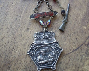 RESERVED. Antique Shooting Medal Assemblage Necklace NRA National Rifle Association