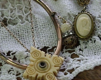 Inner Peace Antique Assemblage Necklace Carved Bone Cross