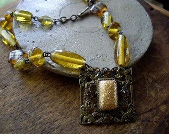 Vintage Assemblage Necklace Amber and Brass