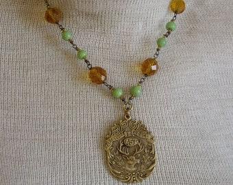 Antique Necklace Assemblage Elks Fob Shelbyville Indiana