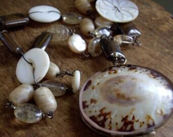 Vintage Assemblage Necklace Seaside Memories ~Vintage Shell Coin Purse Necklace  Vintage Mother of Pearl Buttons Rutilated Quartz