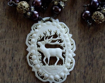 Antique Assemblage Necklace Carved Bone Deer with Chocolate Brown Pearls