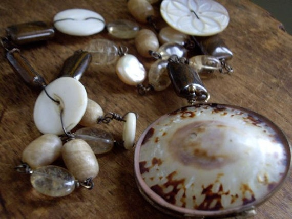 Vintage Assemblage Necklace Seaside Memories ~Vintage Shell Coin Purse Necklace  Vintage Mother of Pearl Buttons Rutilated Quartz