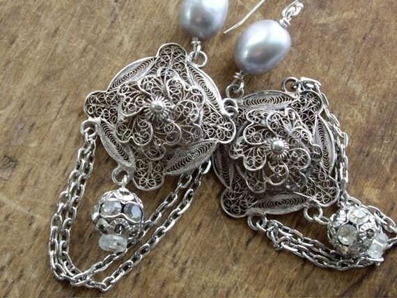 Victorian Silver Filigree Dangle Earrings