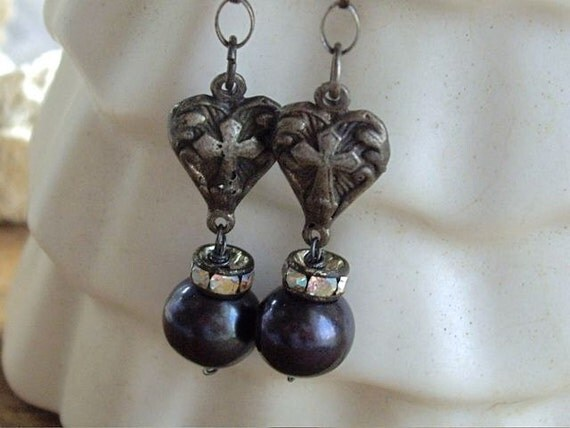 Faith  Sterling Cross Assemblage Dangle Earrings