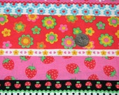 Kawaii Strawberry Mushroom Border Japanese Fabric 1 Yard Lecien Closeout