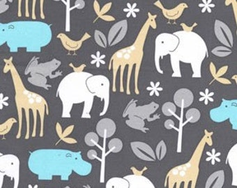 Zoology Sea Michael Miller Fabric 1 Yard Animal Elephant Hippo Gray Blue