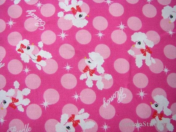 Kawaii French Poodle Fabric  Pink Lecien Fat Quarter