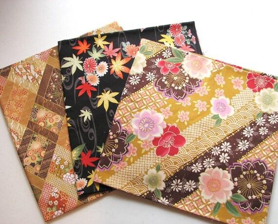 Japanese Fabric Kimono Floral Sample Set
