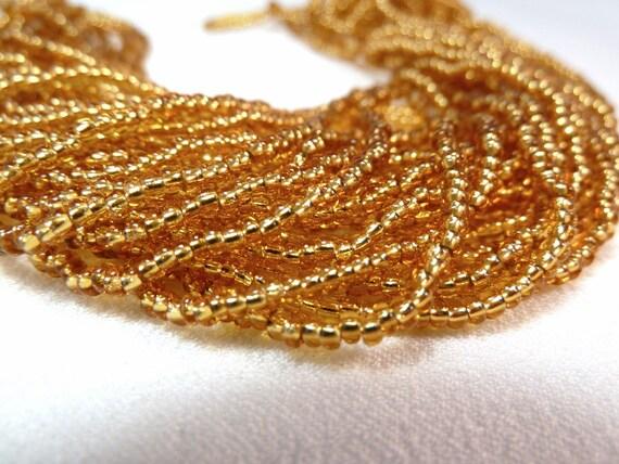 DESTASH - Silver-Lined Gold Czech Seed Beads