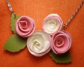 Pink Paper Roses Necklace