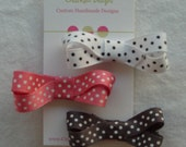 Set of 3 Bitty Bows pink\/white, white\/black, grey\/white