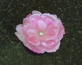 Large Light Pink Magnolia Style Flower Clip with Clear Jewel Center