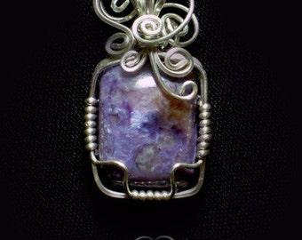 Whimsy Charolite Silver Pendant