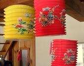 three vintage springy japanese paper lanterns