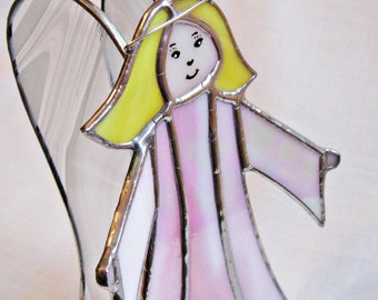 Pink Standing Angel 3-D Stained Glass Christmas Holiday Decor