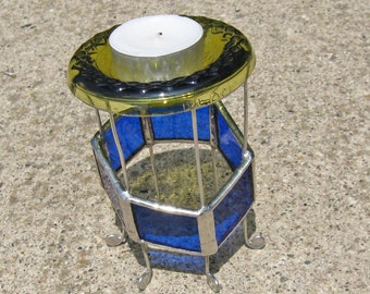 Blue and Green Stained Glass Candle holder with Recycled Glass and Wire