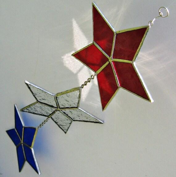 USA Stars Hanging, Turning Stained Glass Suncatcher