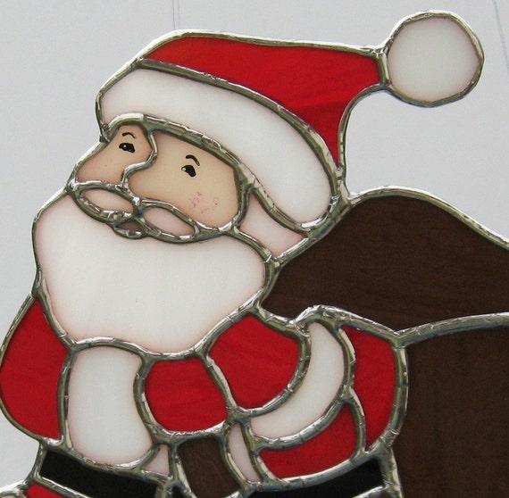 Santa claus stained glass suncatcher christmas holidays